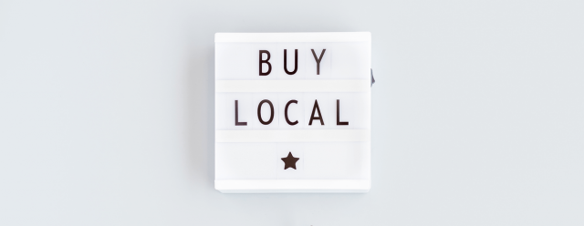 text Buy Local with a star on lightbox