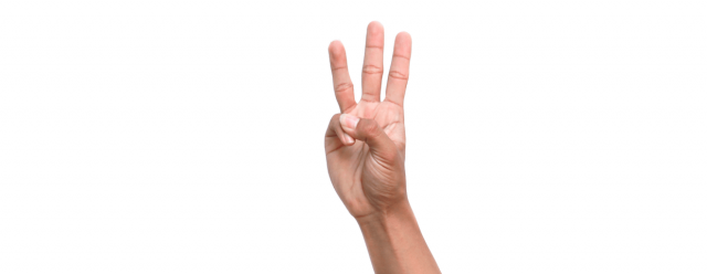 Three fingers being help up against white background.